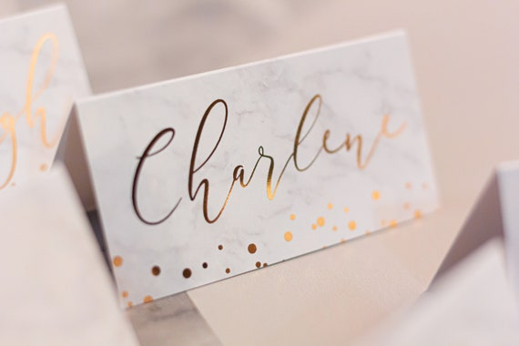 Marble & Rose Gold Foil Place Name Cards