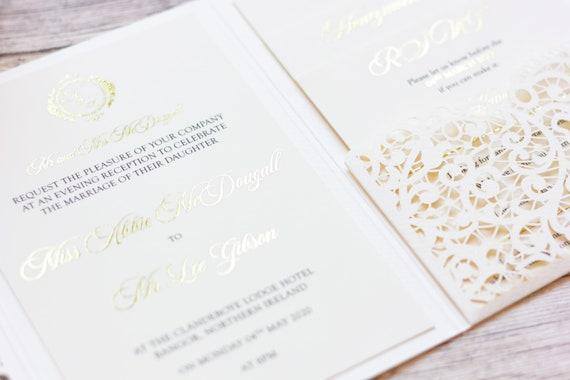 Gold Foil Lasercut Pocketfold wedding Invitation