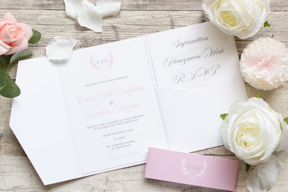 Pink & White Pocketfold wedding Invitation