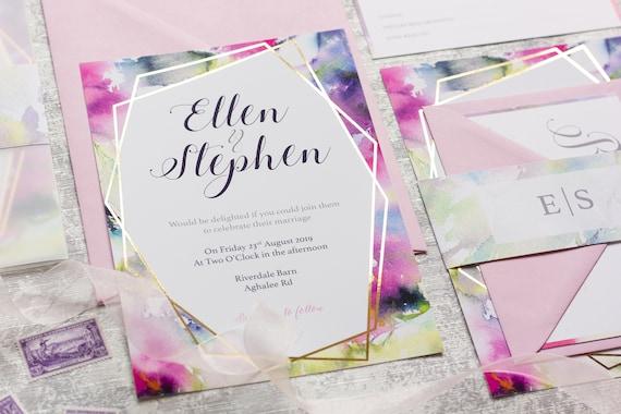 Watercolour Dream Foil Wedding Invitation