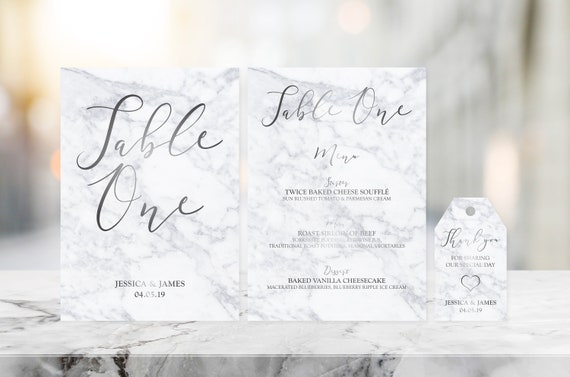 Marble & Silver Foil Table Name Cards