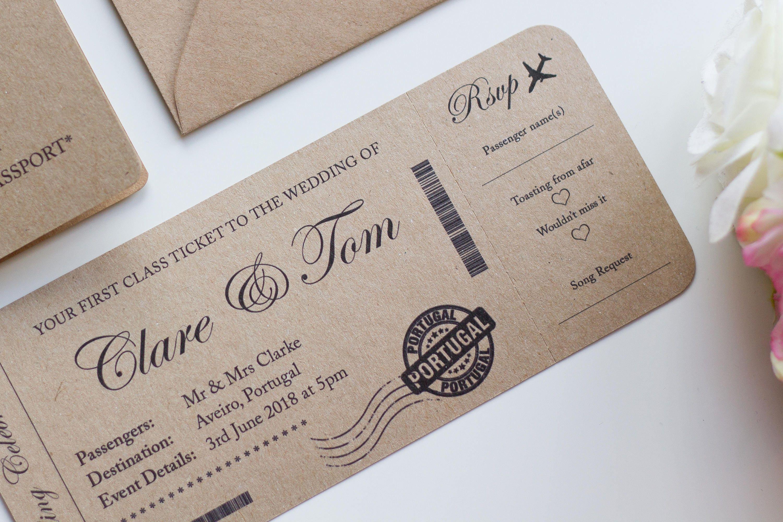 Boarding Pass Destination Wedding Invitation