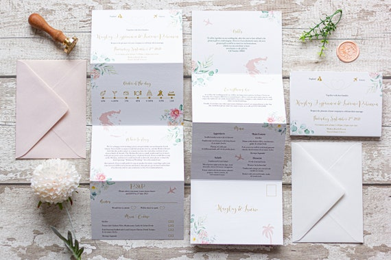 Concertina Floral Wedding Invitation