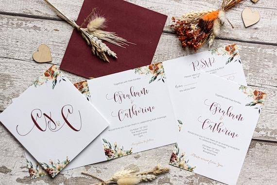Autumn Concertina Floral Wedding Invitation