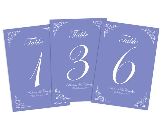 Purple Design Table Name Cards