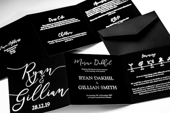 Black & Silver foil Concertina Wedding Invitation / Foil Wedding Invitation