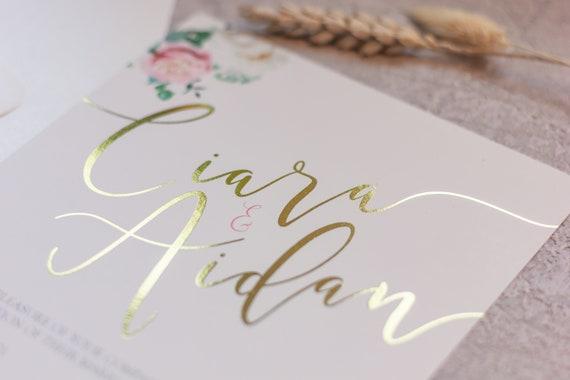 Floral Foil Wedding Invitation Set