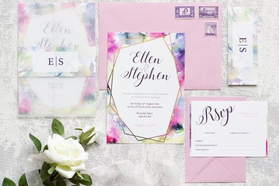 Watercolour Dream Foil Wedding Invitation