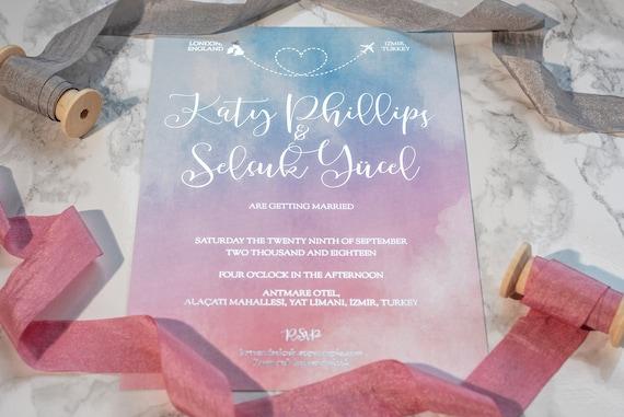 Ombre Watercolour Foil Invitation
