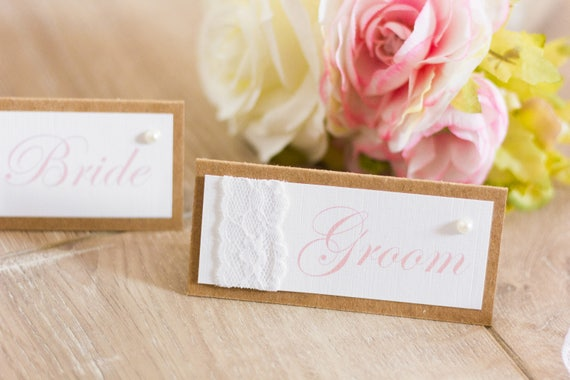 Vintage Blush Place Name Cards