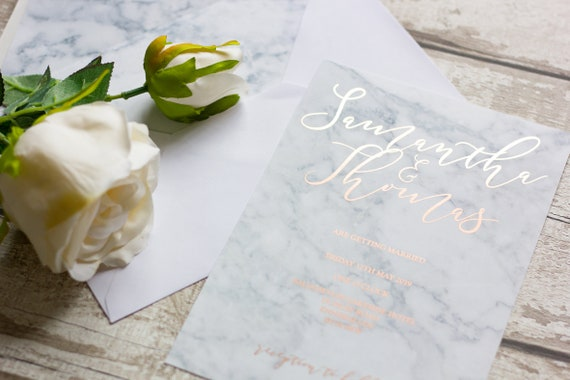 Marble Invitation with Rose Gold Foil