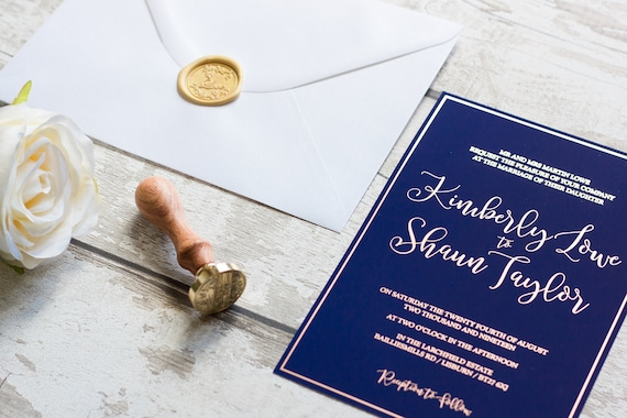 Navy and Rose Gold Foil Invitation
