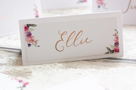 Floral Foil Place Name Cards