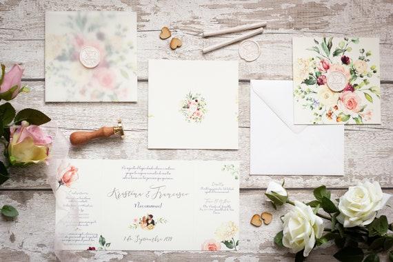 Folded Floral Foil Wedding Invitation