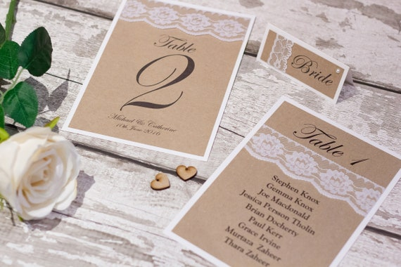 Vintage Kraft Table Name Cards