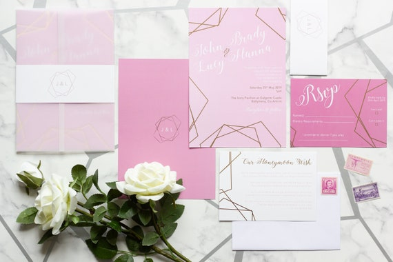 Pink and Gold Foil Wedding Invitation