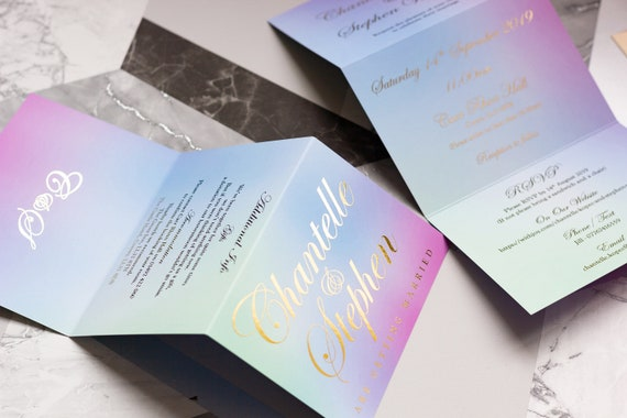 Foil Ombre Concertina Wedding Invitation / Foil Wedding Invitation