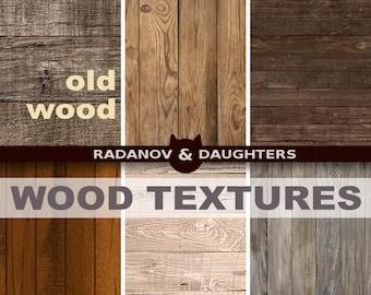 Distressed Wood Digital Textures, Rustic Digital Paper, Old Wood Background