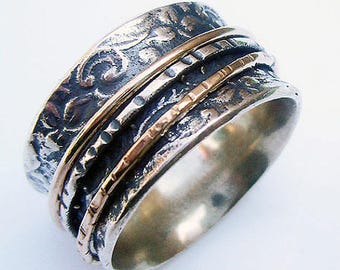 Sterling Silver and Gold Filled Spinner Ring, Silver Spinning Band, Bridal Jewelry, Israeli Jewelry, Silver and Gold Spinner Ring,