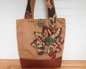 Tote Bag with Zipper, Tote Handbag Floral Shoulder Bag for Women Work Tote, Fabric Tote Bag Pockets, Everyday Tote Mothers Day Gift for Her