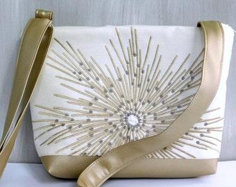 White Crossbody Purse, Gold Handbag, Gold Crossbody Bag, White Handbag, Across Body Bag, Gold Evening Purse, Sling Bag, Cross Body Purse