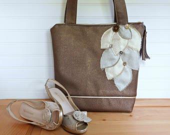 Vegan Leather Tote with Zipper, Evening Handbag Handmade, Metallic Shoulder Bag, Large Tote Bag, Evening Bag, Vegan Purse Crossbody Bag