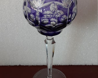 d9c28d8da7f2 Bohemian Glass Czech Crystal Stemware Wine Water Goblet Purple Cut to Clear  About 8