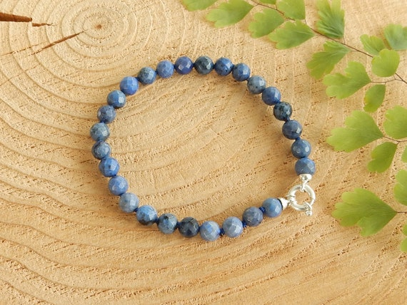 Dumortierite and Chalcedony Bracelet and Earrings