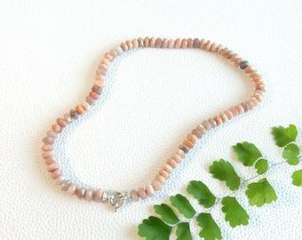 Pink moonstone necklace | rondelle gemstone beads