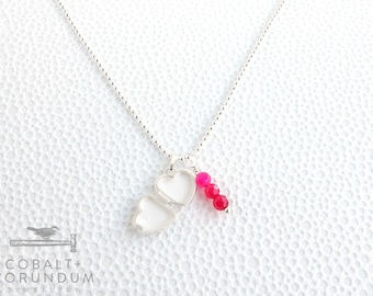 Silver heart locket necklace and pink agate pendant | cute small heart pendant ball chain necklace love Valentine gemstone pink