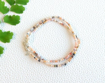 Pink opal rondelle beads bracelet with silver clasp | small bead bracelet