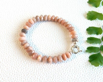 Pink moonstone bracelet | rondelle beads with sterling silver clasp