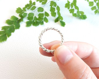 Twisted stacking ring from solid sterling silver
