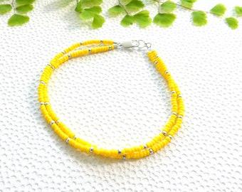 2 strand yellow MIYUKI seed bead bracelet | glass beads