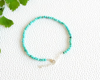 Turquoise bracelet with sterling silver clasp | small bead bracelet