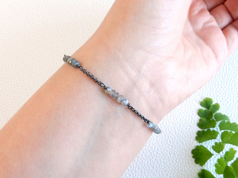 Labradorite gemstones on oxidised sterling silver genuine gemstone adjustable bracelet