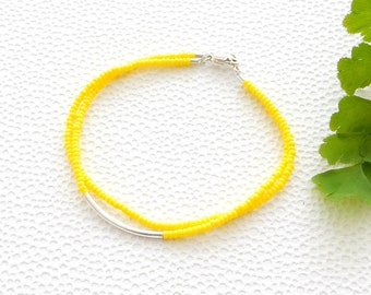 2 strand yellow MIYUKI seed bead bracelet