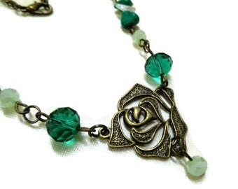 Bronze Rose Necklace, Green Crystal Necklace, Gemstone Necklace, Flower Necklace, Green Necklace, Crystal Jewelry, For Her,Mother's Day Gift