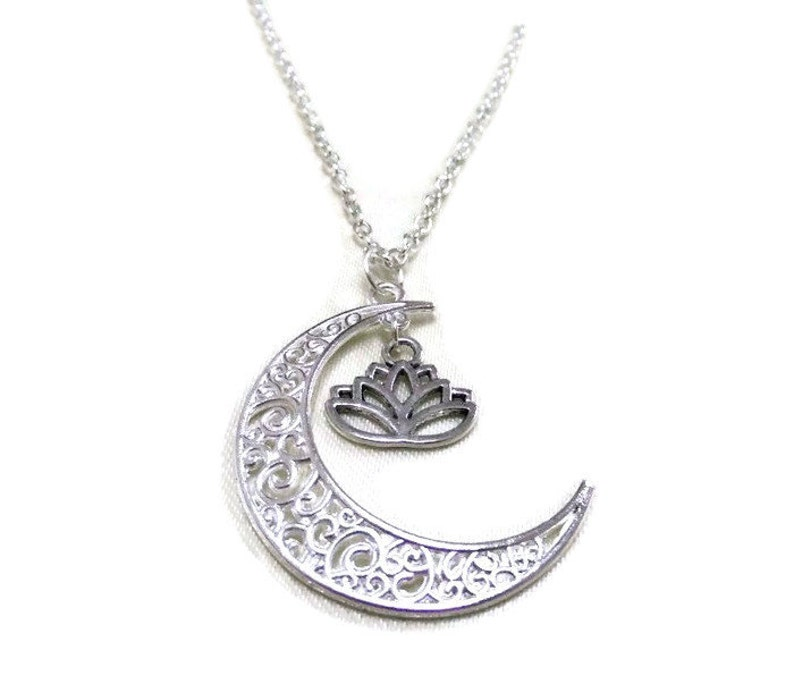 Sale Silver Moon And Lotus Necklace Crescent Moon Necklace Etsy