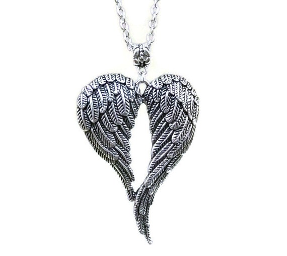 10 x 6 Pieces Vintage Big Double Angel Wings Heart Charm Pendant DIY Jewelry