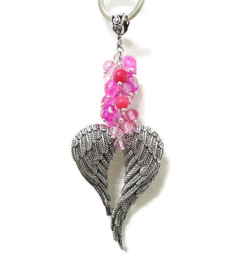 Valkyrie Wings Bag Charm Silver Angel Wing Keyring Pink Bead Cluster Ladies Gift Gift for Her Boho Protection Gift Angel Keychain