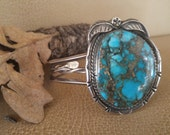 PRICE REDUCED Vintage TURQUOISE Spider Web Matrix Cuff bracelet Authentic Native American Indian, Leaf Motif, Sterling Silver Great Deal