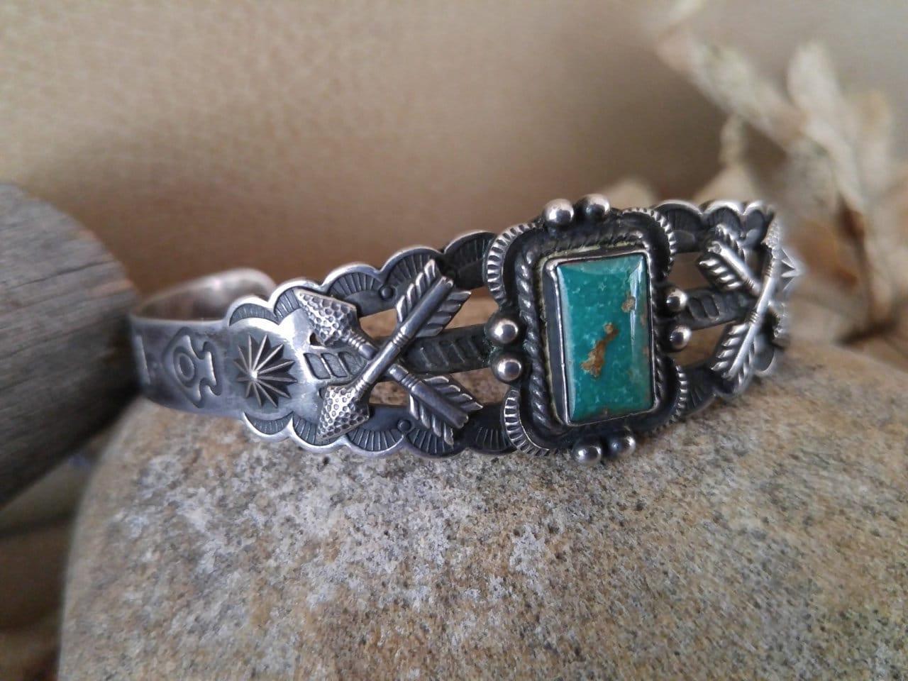 Size 5.75-788575701 Wonderful Vintage Native Style Blue Turquoise Southwestern Sterling Silver Wrap Adjustable Ring