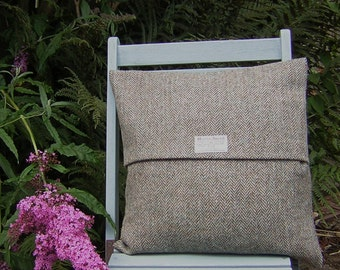 Harris Tweed Cushion Cover - Brown- Beige Herringbone