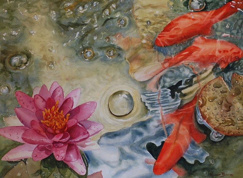 Water Lily Painting PRINT Watercolour Painting  Fish pond image 0