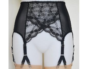 Suspender Garter Belt, Black Lace 6 Y-strap, Vintage Retro Style