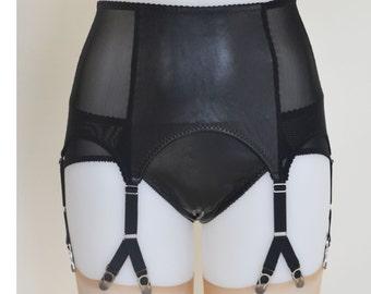 Leather Suspender Garter Belt, 6 Y-strap, Black Genuine Leather, Vintage Retro Style, Y Strap
