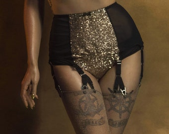 Gold Sequin Suspender Garter Belt, 6 Y-strap Gold Sequin, Vintage Retro Style, Y Strap