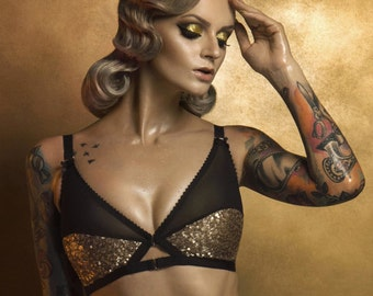 314e54dce4 Gold Sequin and Black mesh vintage style Soft bra. Retro inspired front  fastening bralet. Lingerie by Pip   Pantalaimon. Up to plus size 36G