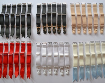 Steel Suspender Straps Clips Premium Quality Set of 4, 6 or 8 for stockings and lingerie. By Pip & Pantalaimon Lingerie.  15mm wide 5/8in